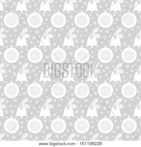 Seamless pattern with Christmas bell with holly, balls, snowflakes. White flat elements on the silver-gray background. Vector illustration. It can be used for design of packing, scrapbook, web, wallpaper, textile, card