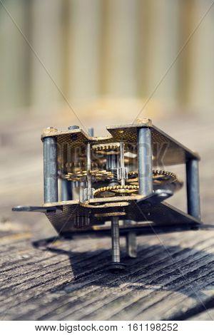 Retro Vintage Clockwork Movement Watch Mechanism On Wood