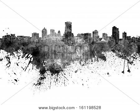 Milwaukee skyline in artistic abstract black watercolor