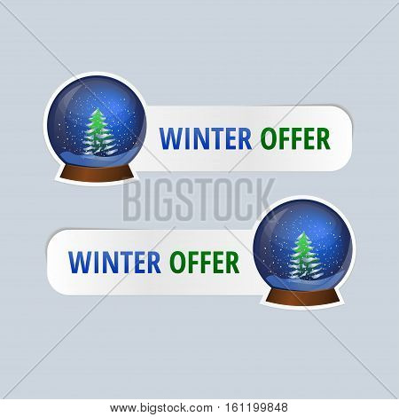 Vector stickers for winter offers. An image of a glass snow globe with spruce.