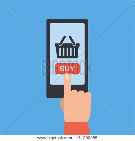 Mobile and online shopping vector illustration. Smartphone shopping in flat style. Mobile shopping using phone isolated on background. Buy mobile shop.