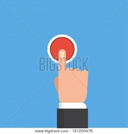 Pressing button. Finger on red button. Push hand on the button. Flat design.