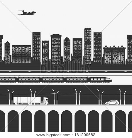 Transport and trucking in the city. Vector Illustration.