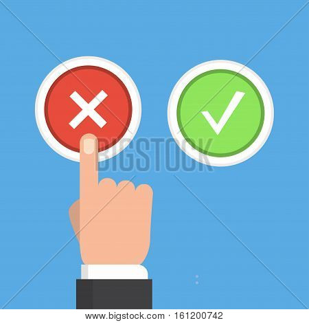 Yes or no vector illustration in flat style. Men s hand reaches for the right and wrong buttons. Colored buttons with a cross and tick.The concept of choice, the right choice and a wrong decision.