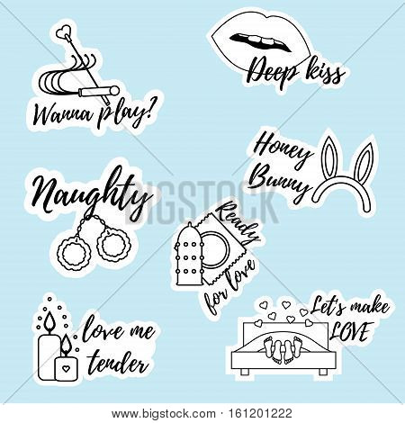 Trendy playful and flirty pins patches badges stickers pack. Romantic valentines day love icons Sexy messages for adults. For chat mobile applications design elements. Printable erotic stickers