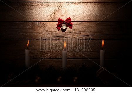 Christmas Card: Watch On A Wooden Background With Candles With A Strong Vignette