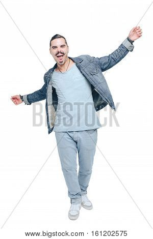 cheerful kid swinging widely with his hands he goes through life laughing