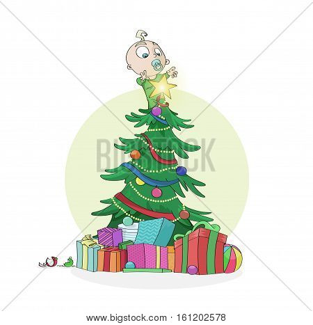 Little curious baby boy climbed on a decorated Christmas Tree to reach out the shining star on top. Merry Christmas and Happy New Year concept. Great for greeting postcards banners and backgrounds