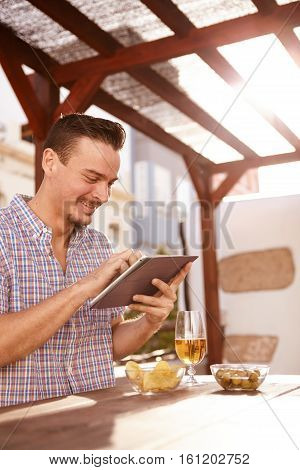 Dark And Handsome Guy With Tablet