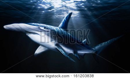 Hand painted swimming dangerous big hammerhead shark