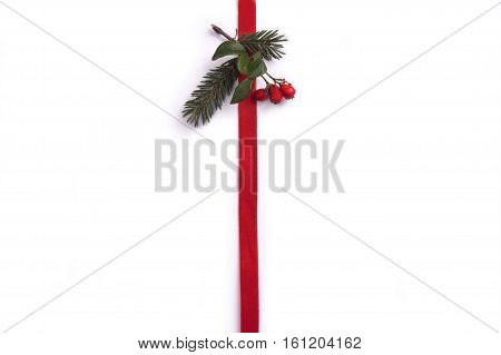 christmas decoration, christmas gift, red ribbon isolated on white