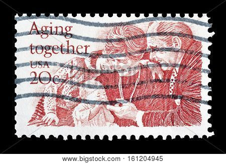 USA - CIRCA 1982 : Cancelled stamp printed by USA, that shows Aging together.