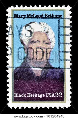 USA - CIRCA 1985 : Cancelled stamp printed by USA, that shows Mary McLeod Bethune.