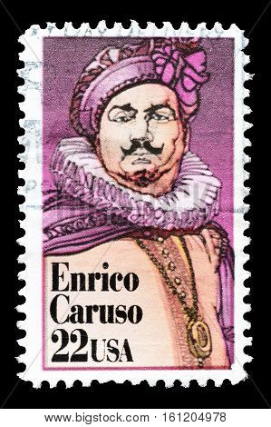 USA - CIRCA 1987 : Cancelled stamp printed by USA, that shows Enrico Caruso.