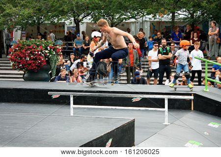 Stockholm aug 21. 2016 - Stockolm youth sport fest  and the Boy Skateboarding Jump Lifestyle Hipster