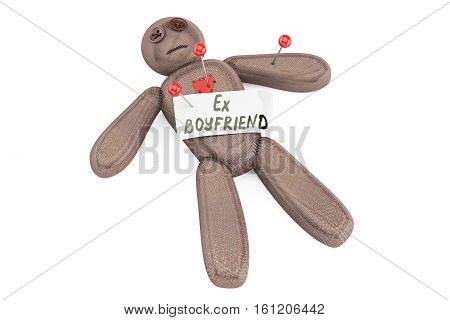Ex-boyfriend voodoo doll with needles 3D rendering isolated on white background