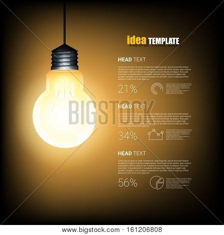 Creative Template with light bulb idea. Modern Design template. Vector illustration design