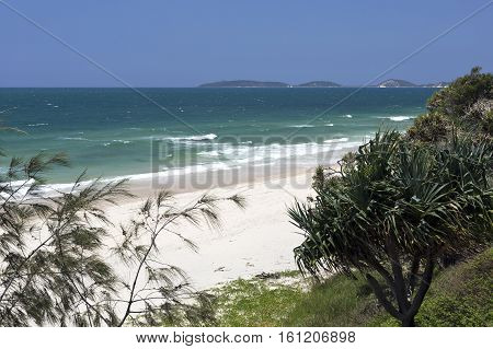 Spectacular view to the North of the Rainbow Beach looking towards the Double Island Point in Queensland Australia