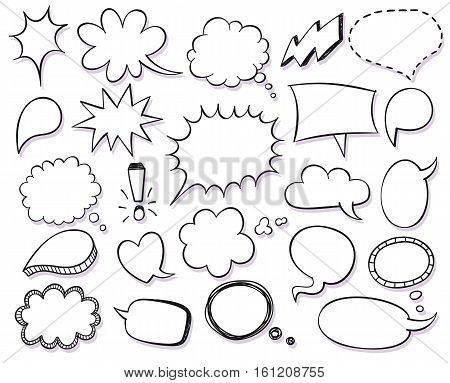 Hand drawn vector sketch speech bubbles set