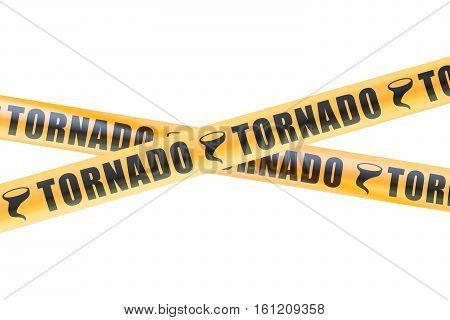 Tornado Caution Barrier Tapes 3D rendering isolated on white background