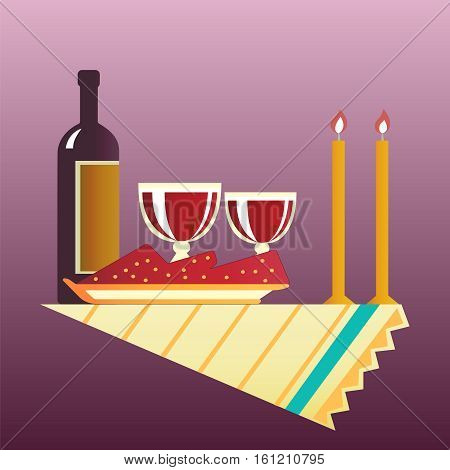 Flat style table for two with cloth glasses bottle of wine and two burning candles. Vector illustration .