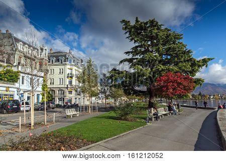 VEVEY, SWITZERLAND - 29 OCTOBER 2015 : Landscape of Embankment, Vevey, canton of Vaud, Switzerland