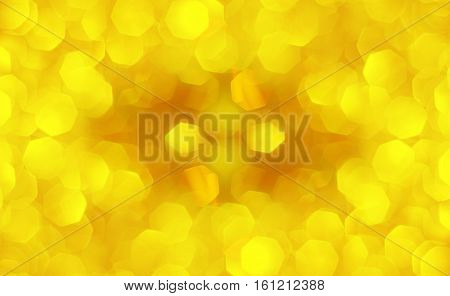 yellow bokeh lights defocused abstract background large polygons
