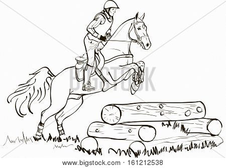 Overcoming of cross country obstacles in horse symbol vector. Horse cross country jumping, horse and rider jumping over fence beams vector illustration, Equestrian sport