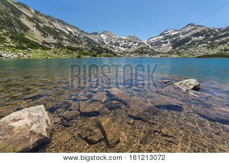 Amazing landscape of Clear waters of Popovo lake and Demirkapiya pass, Pirin Mountain, Bulgaria
