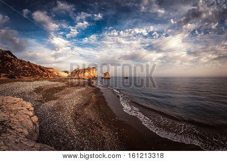 Petra tou Romiou (Rock of the Greek Aphrodite's Rock). Paphos District Cyprus.
