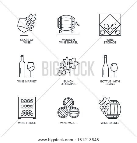 Thin line wine icons set. Web infographics simple mono outline wine icon symbol collection. Linear stroke vector wine logo concept pictogram pack. Alcohol icons infographic illustration.