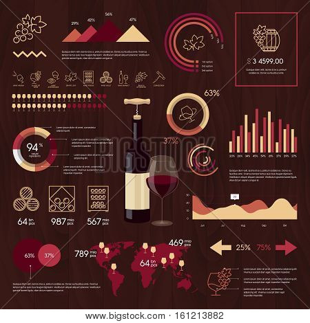 Wine vector infographics on wooden background. Web design wine linear icons. Thin line wine logo concept.Wine sign illustration. Stroke simple mono vine icon infographic pictogram pack.