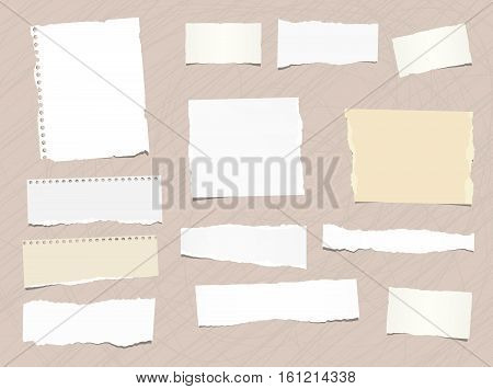 Pieces of different size ripped note, notebook, copybook paper stuck brown background.