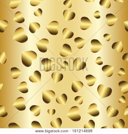 Gold seamless pattern, romantic golden background with hearts, love style   illustration, wedding or valentine day foil design