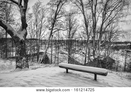 Winter sunset landscape with trees and wooden bench on the hill above city in Sweden, north scandinavian seasonal hipster background. Black and white