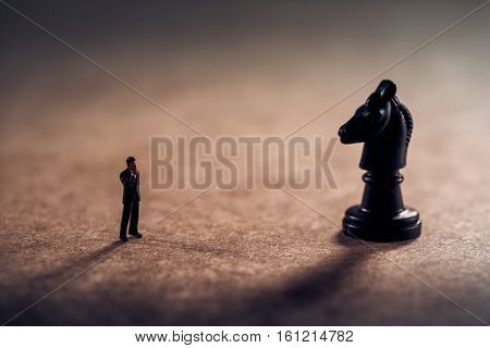 Challenge for businessman. Business strstegy concept. Macro photo