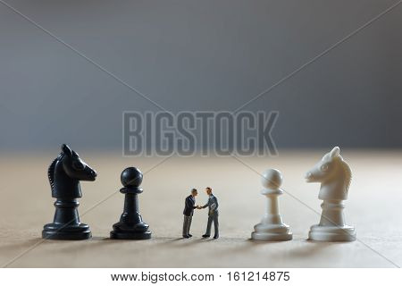 Businessman shaking hands. Business strategy concept. Macro photo