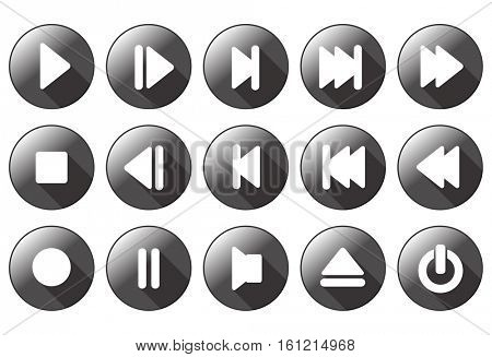 simple multimedia buttons - vector