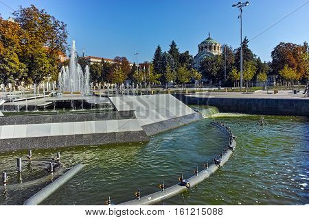 Amazing view of Fountain in the center of City of Pleven and St. George the Conqueror Chapel Mausoleum, Bulgaria