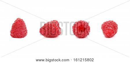 Fresh Red Ripe Raspberries On White, Close Up