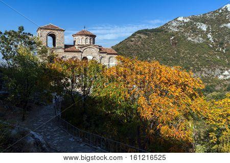 Landscape of Church of the Holy Mother of God in Asen's Fortress, Asenovgrad, Plovdiv Region, Bulgaria
