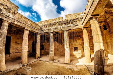tomb of the kings unesco world heritage site. paphos cyprus.