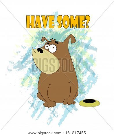 Foolish cartoon dog sits near bowl with food. Vector cartoon illustration.