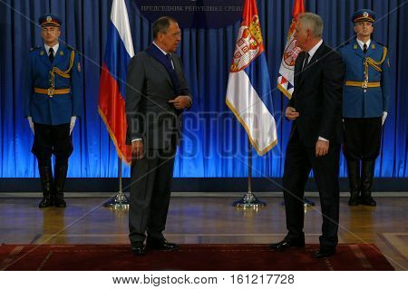 Belgrade, Serbia. December 12Th 2016: Official Visit Of Russian Foreign Minister Sergey Lavrov To Se