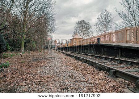 An old station platform on a single railway line