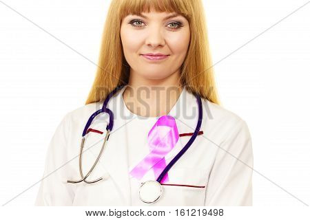 Woman Doctor With Pink Ribbon Aids Symbol