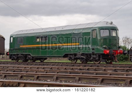 Old green heritage diesel locomotive in England