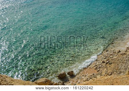 turquoise sea and stone compositon in red sea tropical location