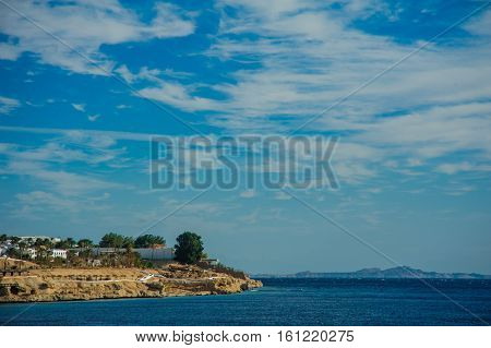sunshade beach red sea blue sky beautiful view in tropical location