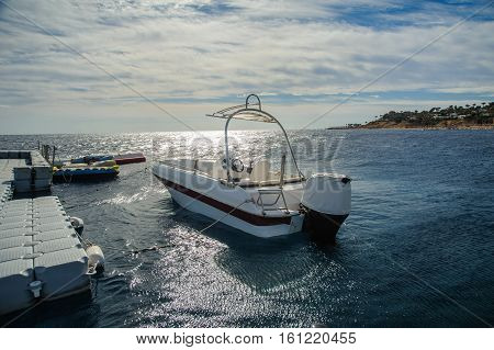 boat in red sea nice blue sky beautiful view